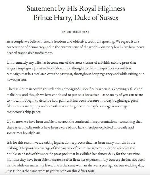 Príncipe Enrique interpone nueva demanda contra diarios sensacionalistas británicos