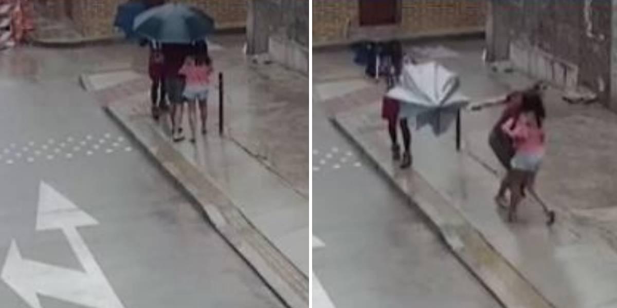(VIDEO) A sombrillazos se defendieron turistas de sujeto que intentó robarlos