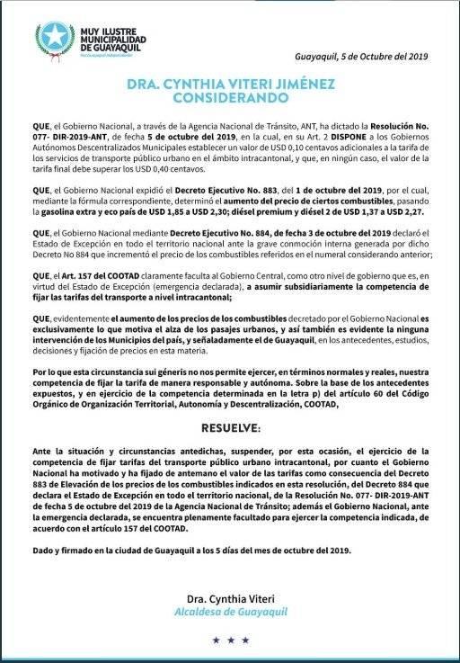Comunicado de la Alcaldía de Guayaquil