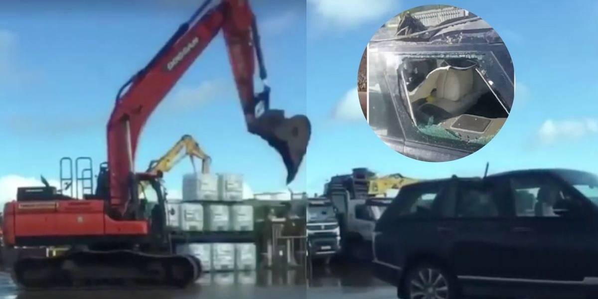 (VIDEO) Vengativo trabajador destruyó el lujoso carro de su jefe con una excavadora