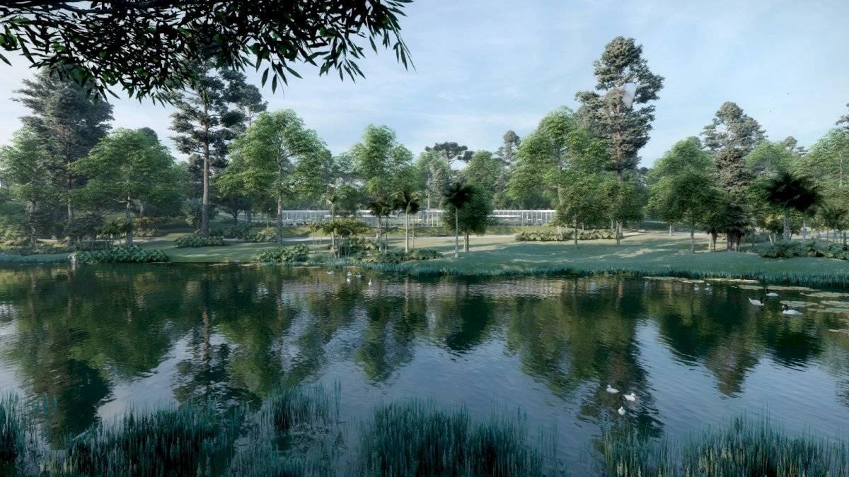 São Pedro ganharia lago e vegetação nativa brasileira, diferentemente da foto ao lado Divulgação