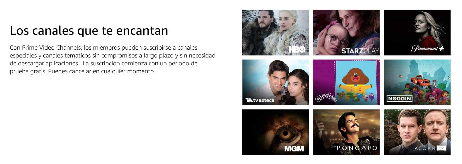 Amazon Prime Video canales
