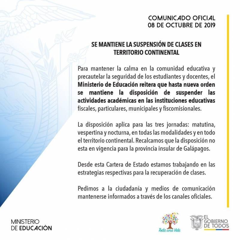 8 de octubre: Clases continúan suspendidas, excepto en Galápagos