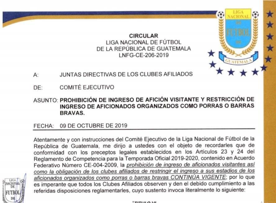 Comité Ejecutivo recuerda de la prohibición de porras visitantes a los estadios