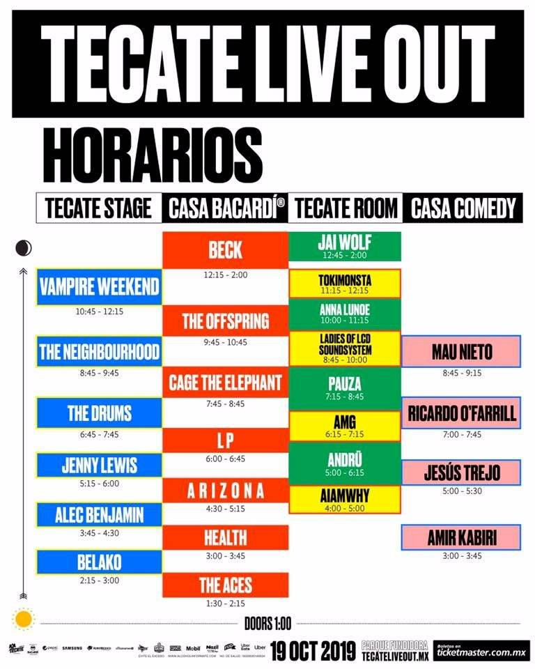 Tecate Live Out horarios