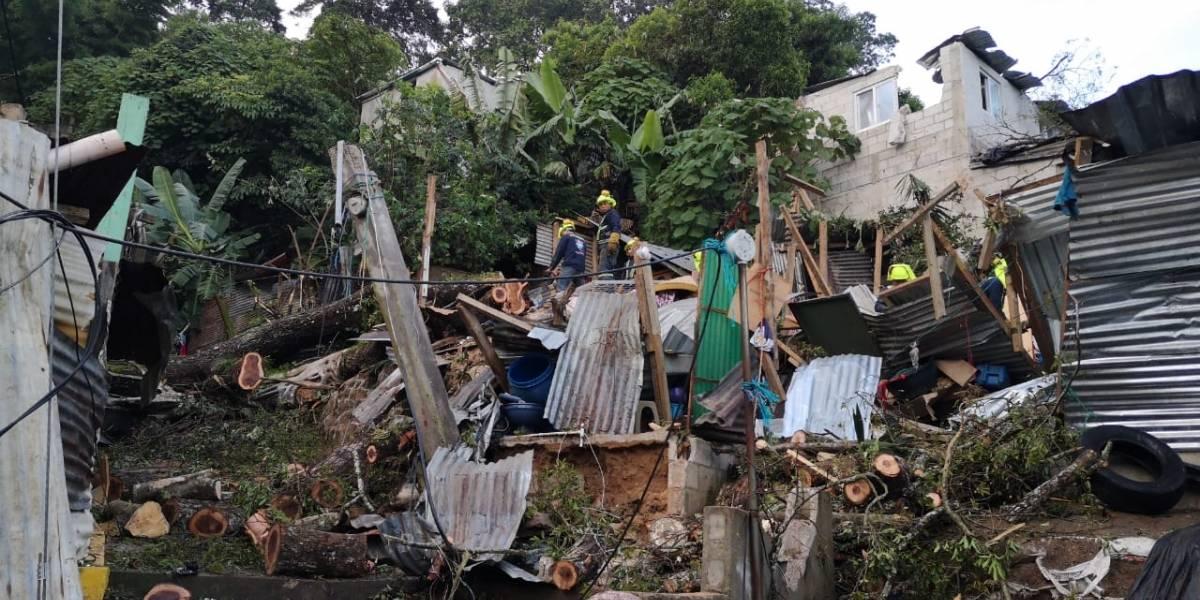 Árbol cae sobre viviendas en zona 16; hay cuatro heridos