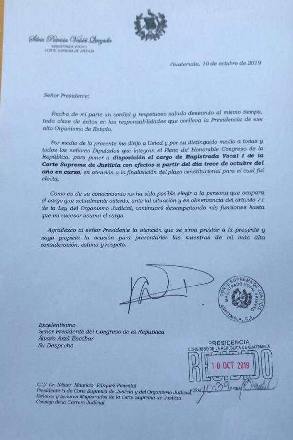 Carta de magistrada Silvia Valdés
