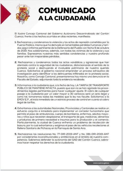 Comunicado de Autoridades en Cuenca