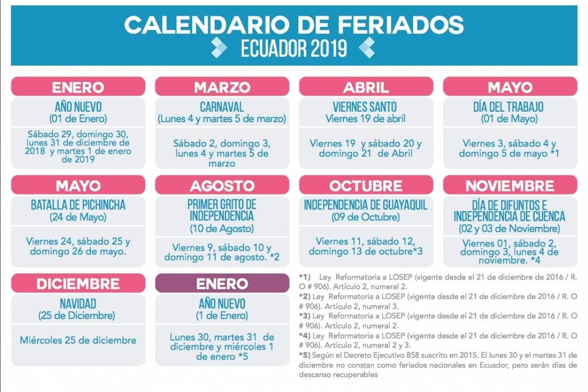 Feriado 2019 Como Queda El Feriado De Diciembre Metro Ecuador