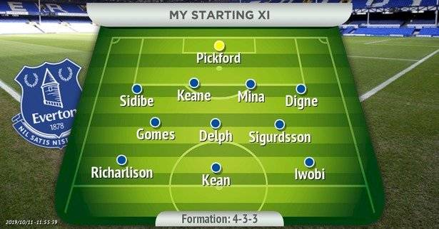 4-3-3 posible formación Everton