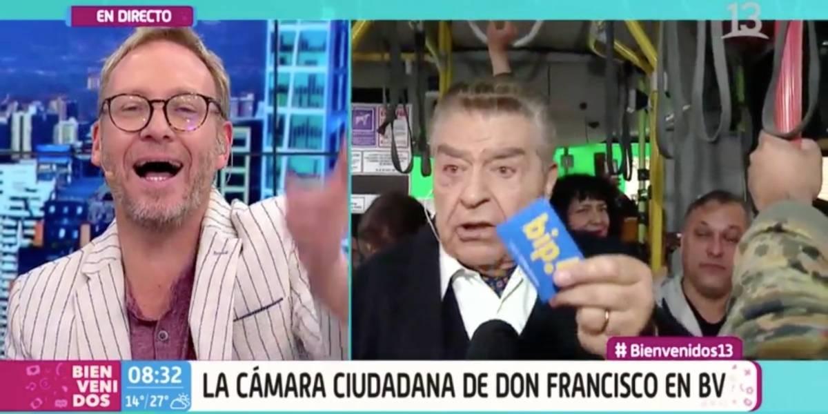 """Don Francisco apareció como """"notero"""" de matinal y preguntó a las mujeres """"si es verdad eso de los toqueteos en la micro"""""""
