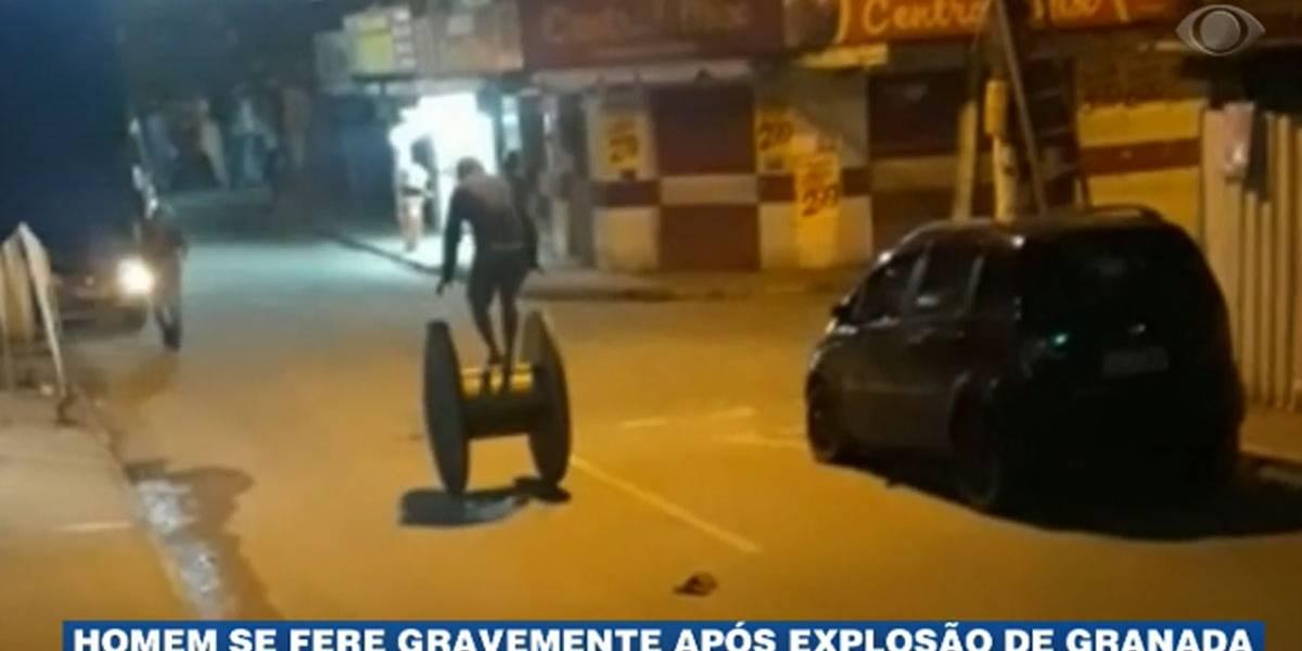Homem se fere gravemente após explosão de granada