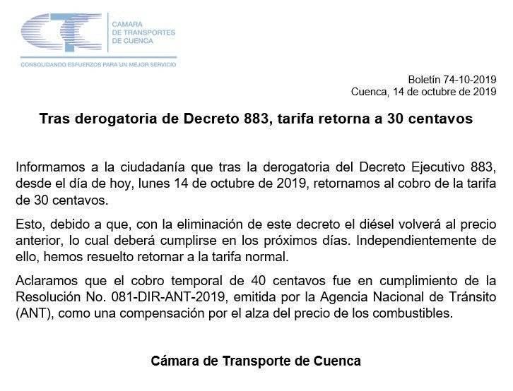 Comunicado de la Cámara de Transportes de Cuenca