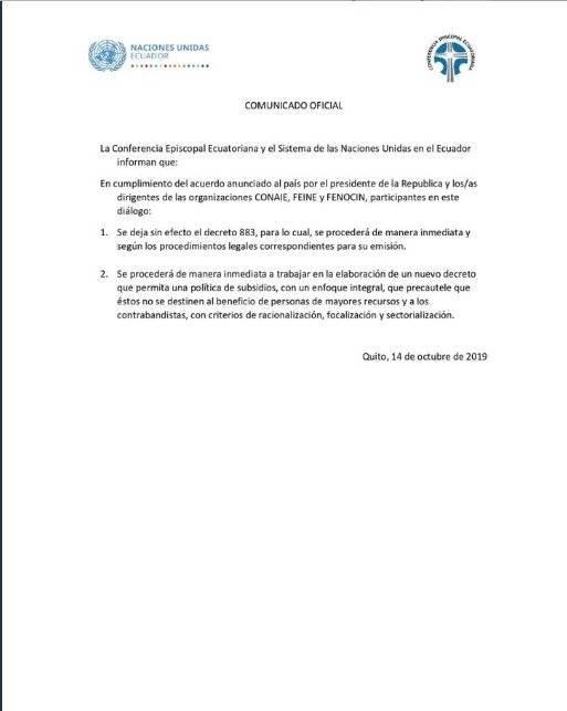 Comunicado de la ONU en Ecuador