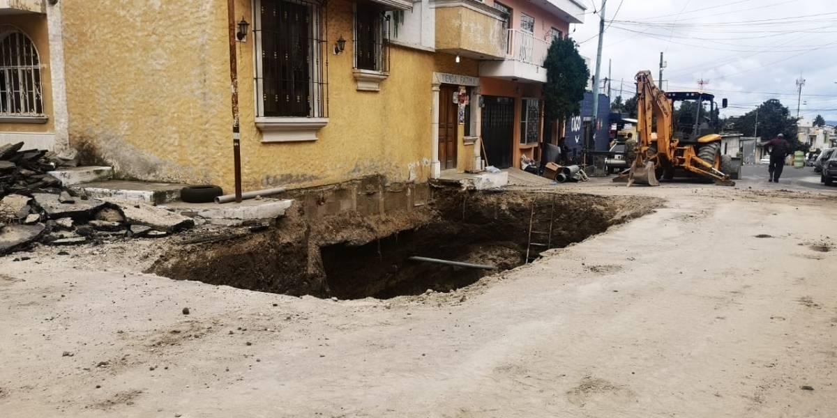 Segundo hundimiento afecta a los vecinos de la colonia Pablo VI en Mixco
