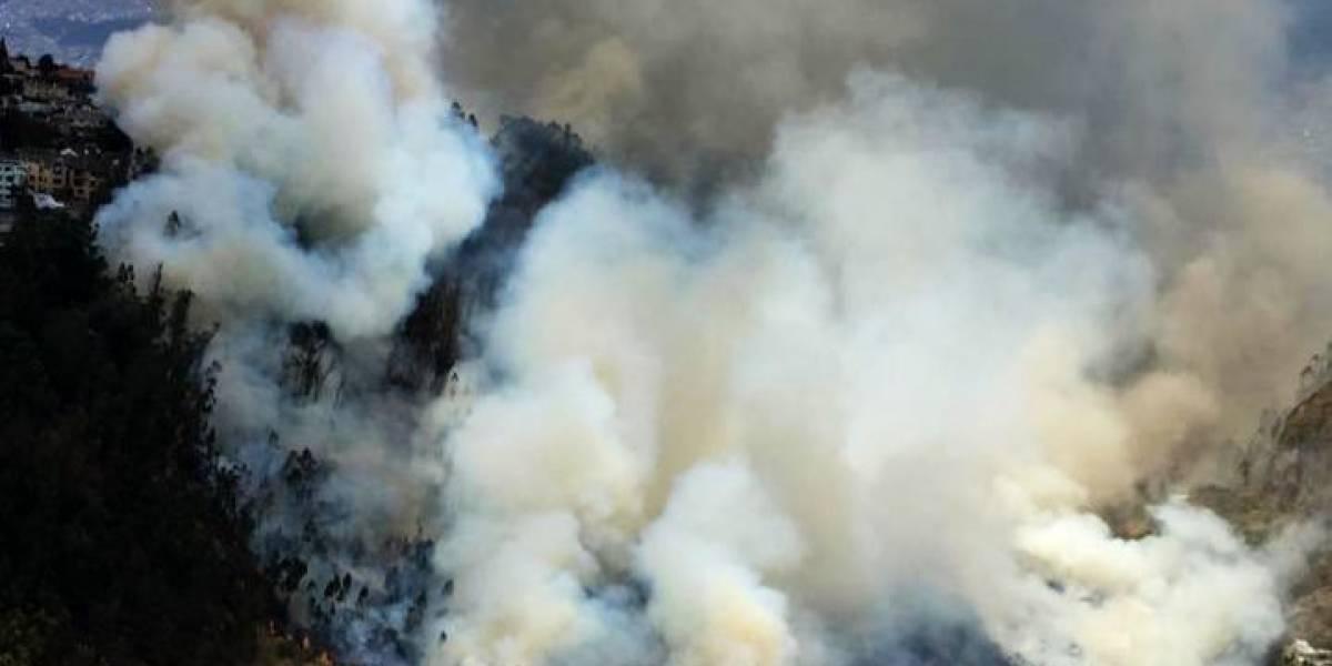 Bomberos intentan extinguir el incendio forestal en Zámbiza