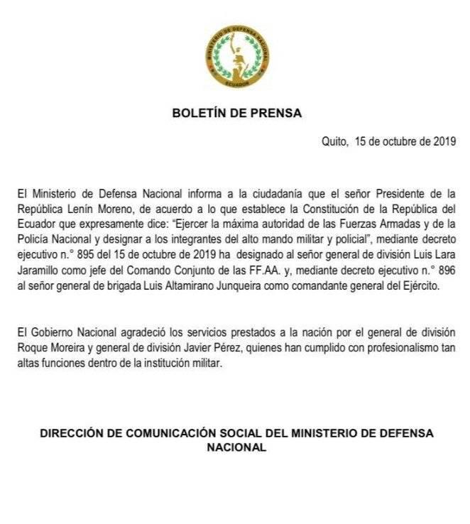 Pdte. Lenín Moreno cambia a dos jefes de las Fuerzas Armadas