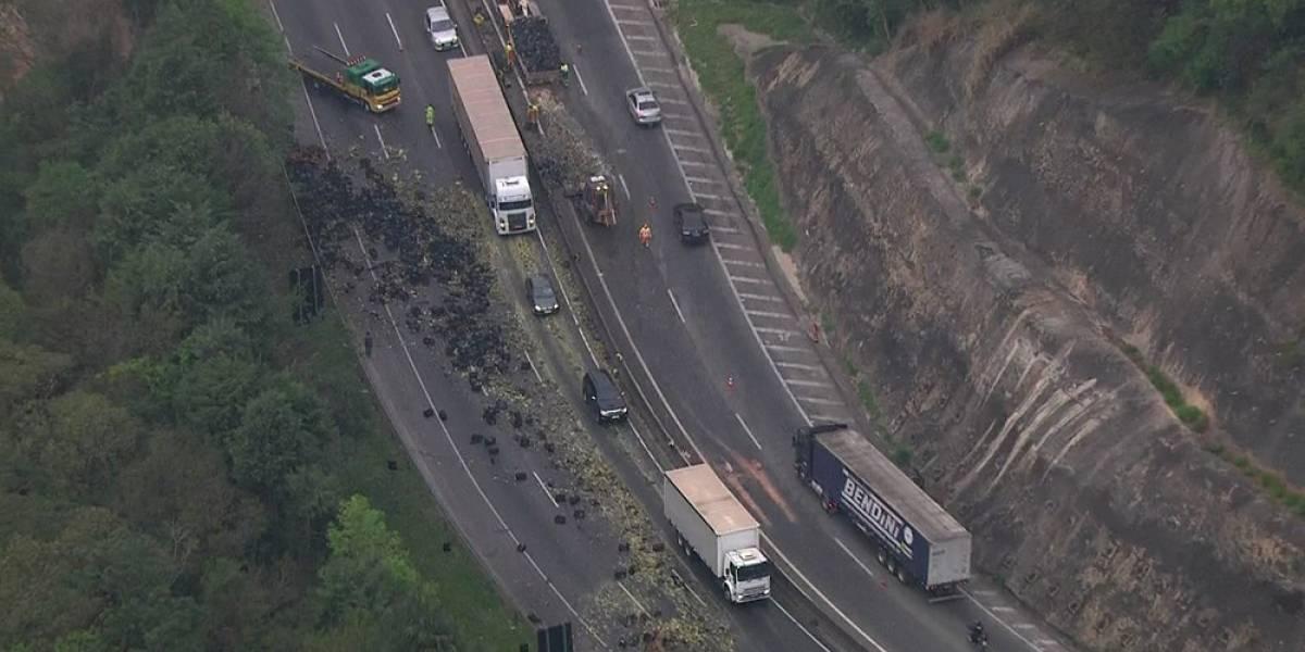 Carga de abacaxi tomba de carreta e bloqueia faixas da rodovia Fernão Dias