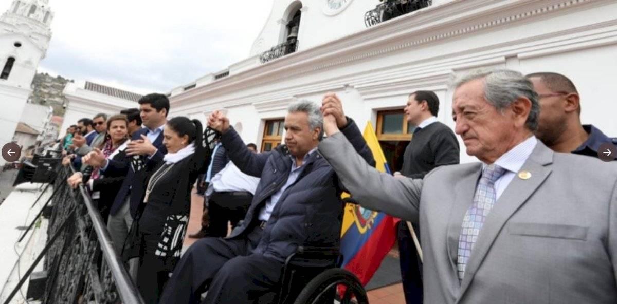 El presidente Lenín Moreno regresó al Palacio de Carondelet Twitter @Lenin