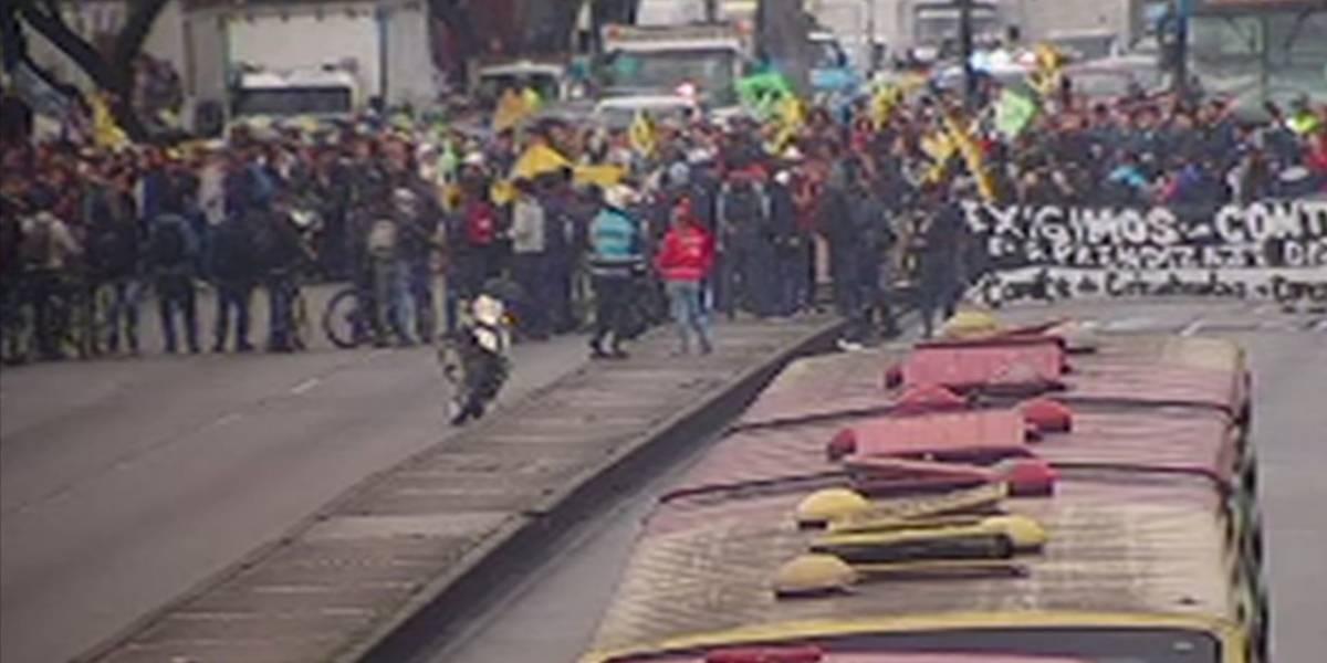 ¡Atención! Monumentales trancones en Bogotá por marchas de estudiantes del Sena
