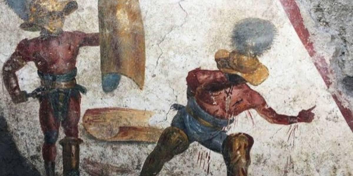 Un fresco hallado en Pompeya ilustra la sangrienta lucha a muerte de dos gladiadores