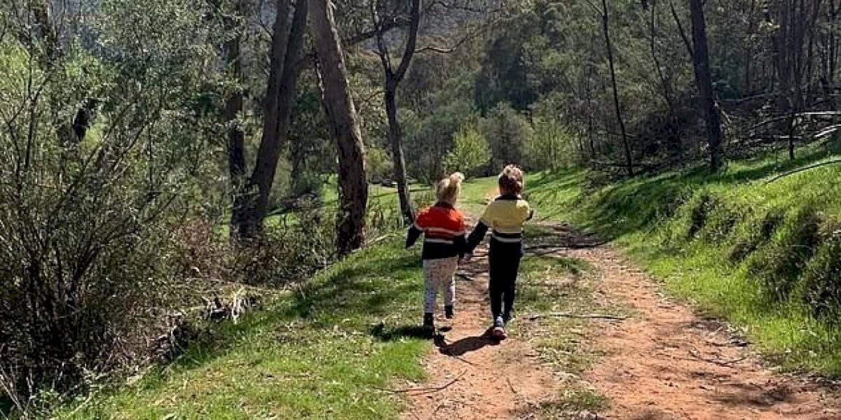 Mulher tira uma foto inocente dos dois filhos na natureza e só depois percebe um animal perigoso à espreita