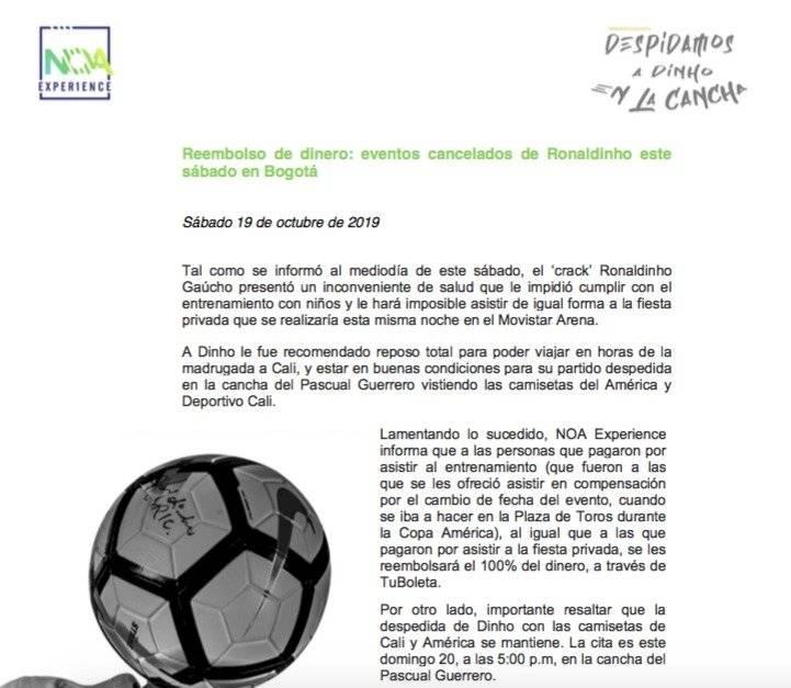 Devolución dinero evento Ronaldinho