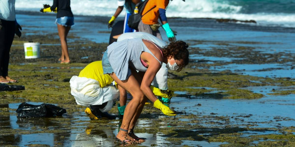 Voluntários relatam náusea, tontura e alergia após contato com óleo em praias