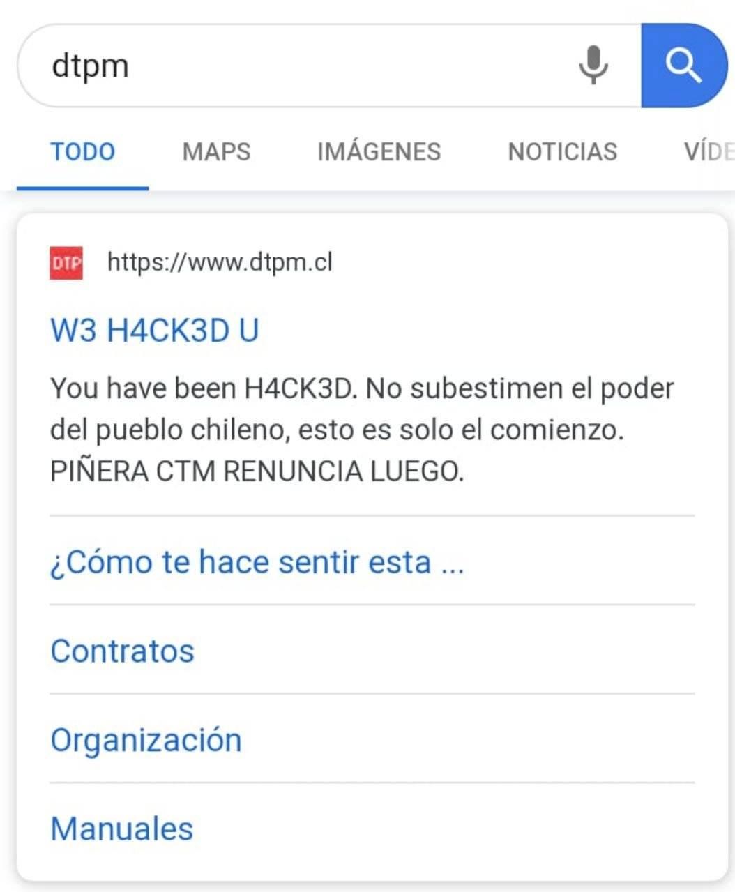 """""""Esto es sólo el comienzo"""": hackean sitio de Dirección de Transportes y dejan fuerte recado a Piñera"""