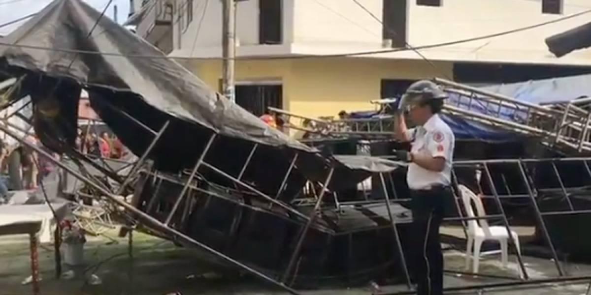 VIDEO. Varios heridos tras desplomarse tarima en la colonia Bethania, en la zona 7