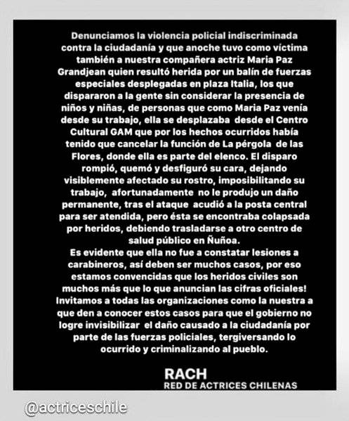 Comunicado Red de Actrices Chilenas