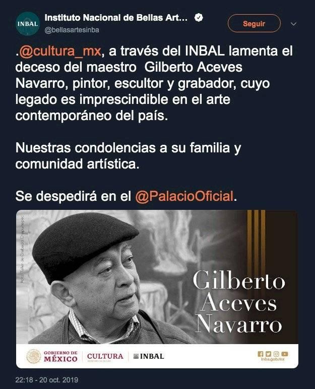 El artistas Gilberto Aceves Navarro, recibe homenaje en el PBA