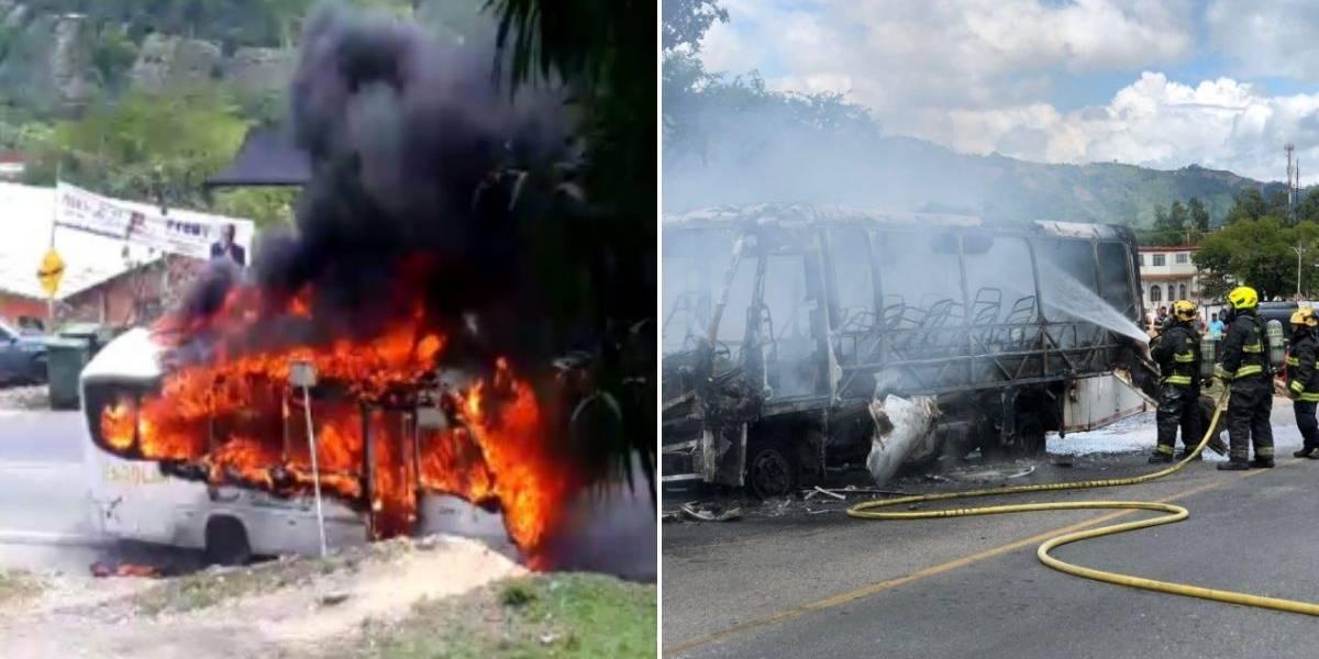 (VIDEO) Bus de transporte escolar se incendió mientras transportaba varios pequeños