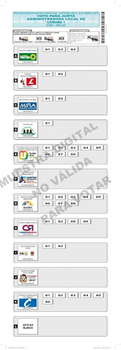 Ejemplo de tarjetón para votar por un candidato a la Junta Administradora Local (JAL) Imagen: Registraduría