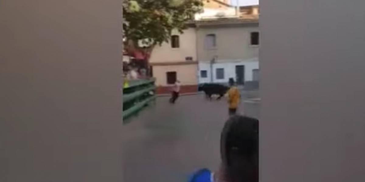 VIDEO: Toro embiste repetidamente contra la pared a aficionado