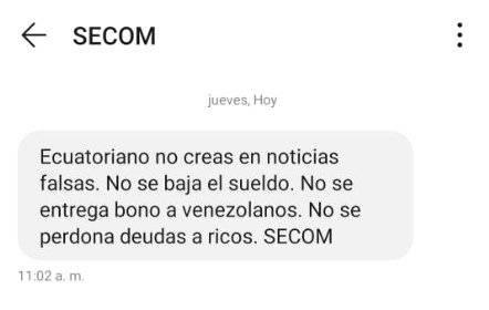 Mensaje enviado por SECOM