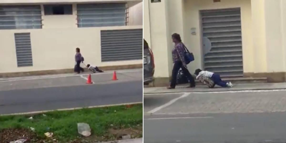 Madre arrastra a su hijo dormido hacia el colegio y el video genera indignación en redes