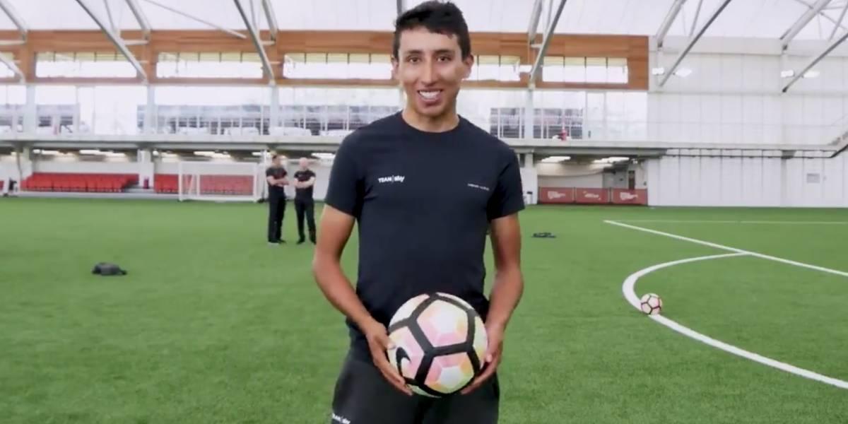 Egan Bernal demostró sus cualidades para el fútbol y no se quedó atrás