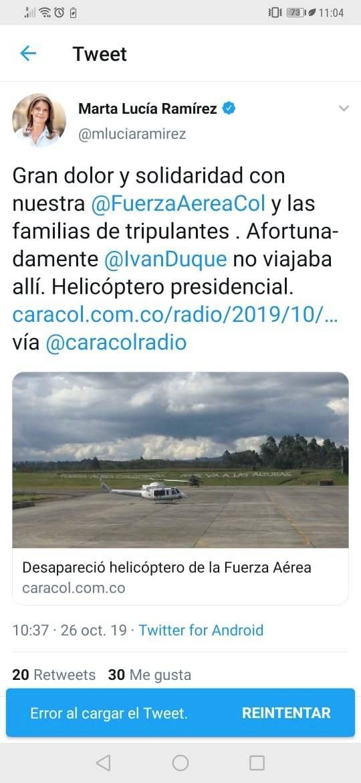 El desatinado trino de Marta Lucía Ramírez sobre el hallazgo de helicóptero presidencial