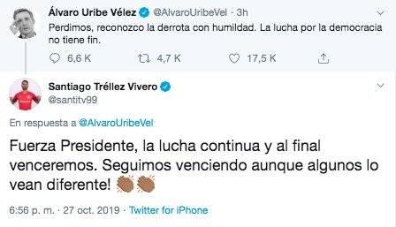 Santiago Tréllez a Álvaro Uribe Vélez después de elecciones locales