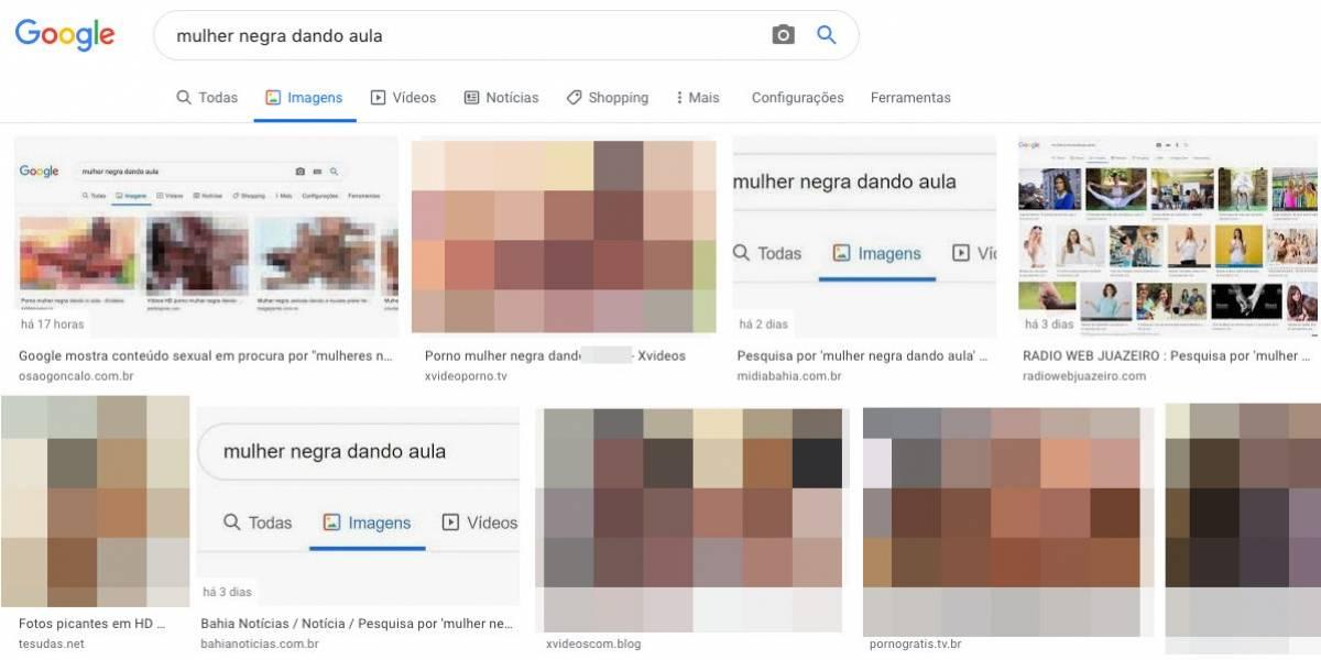 Google exibe pornografia para a busca 'mulher negra dando aula'