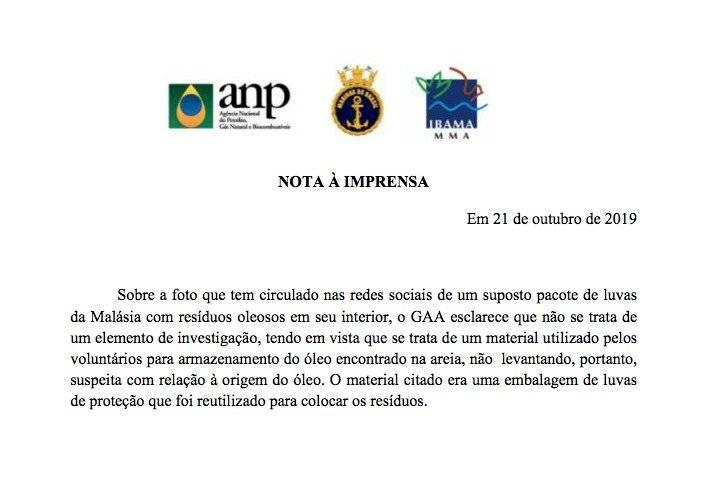 Nota da Marinha do Brasil