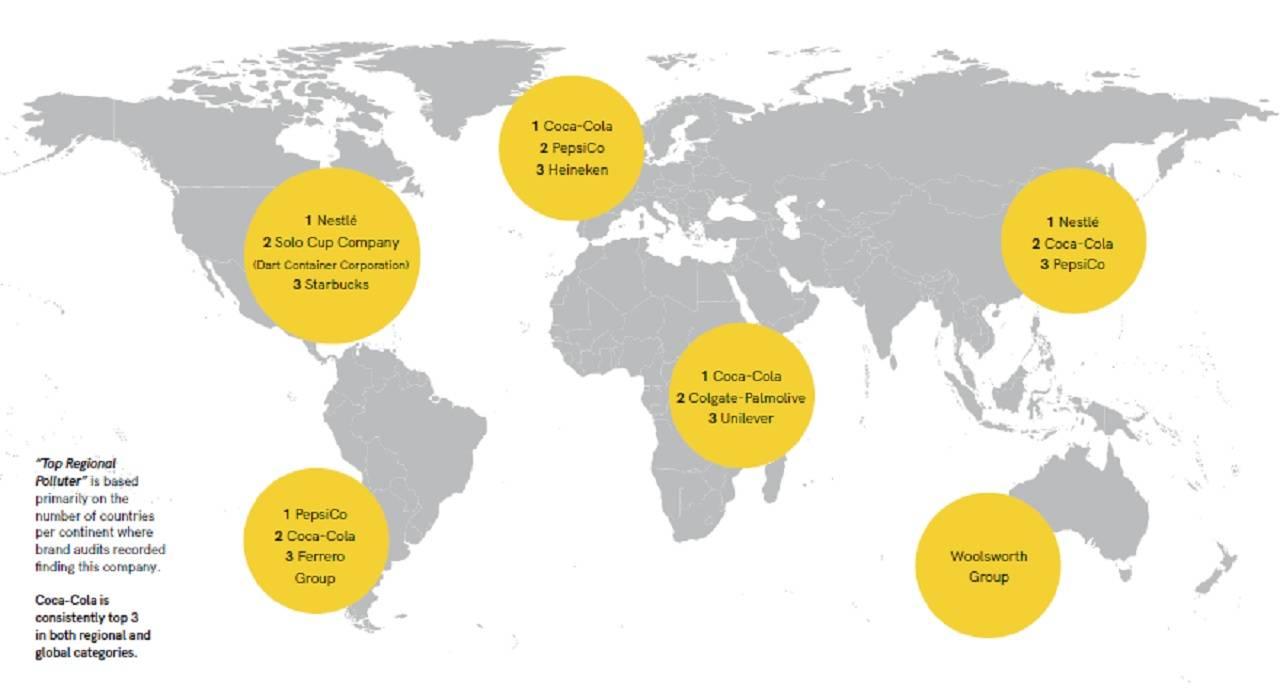 Tres corporaciones señaladas como responsables de la mayoría de los desechos plásticos en el planeta