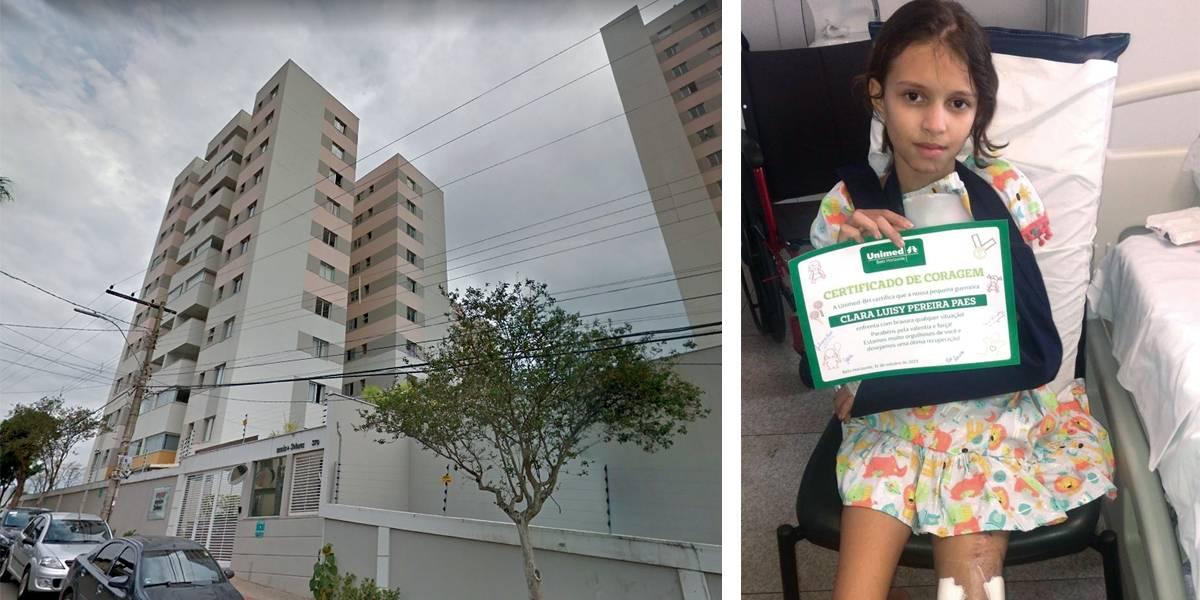 Menina que caiu do 9º andar deixa hospital após 18 dias