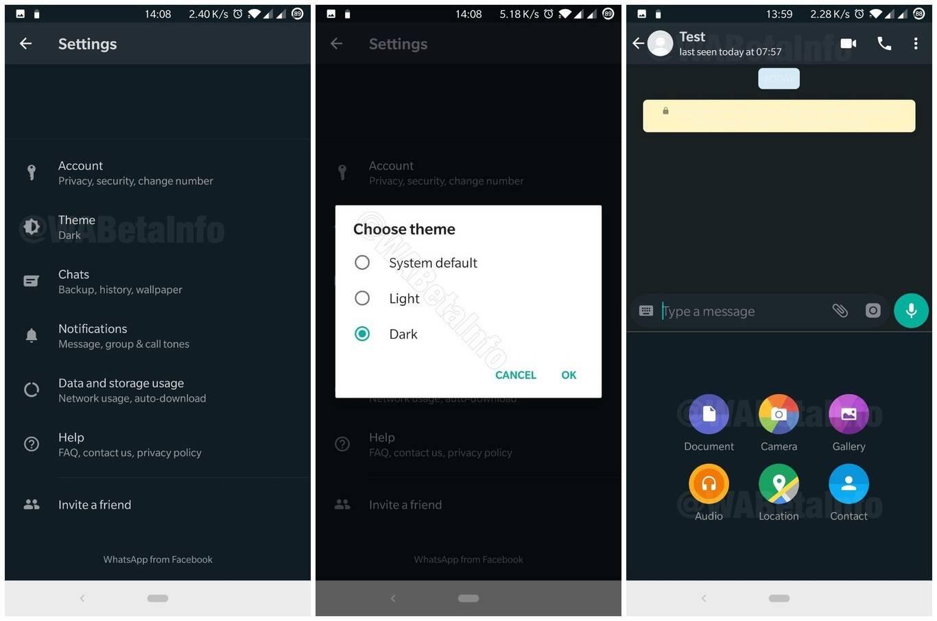 WhatsApp muestra interfaz de Modo Oscuro en nuevas betas para iOS y Android