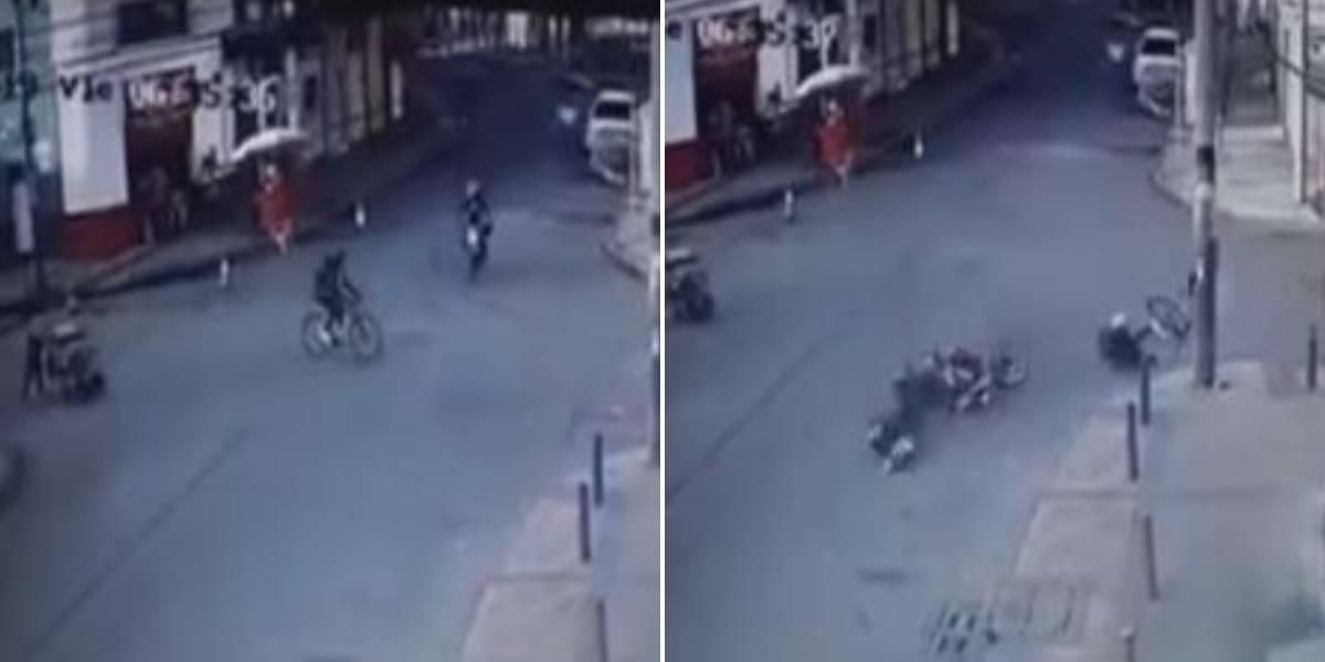 Motociclista atropelló a mujer ciclista y huyó del lugar en Bogotá