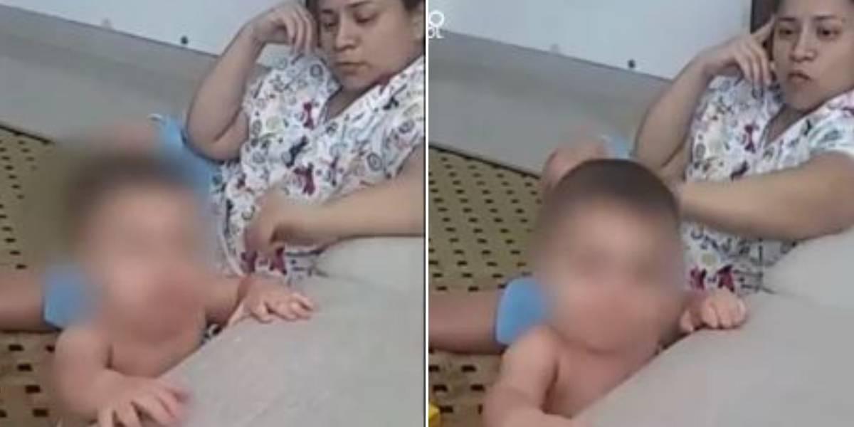 (VIDEO) Denuncian a niñera que golpea a bebé de 9 meses