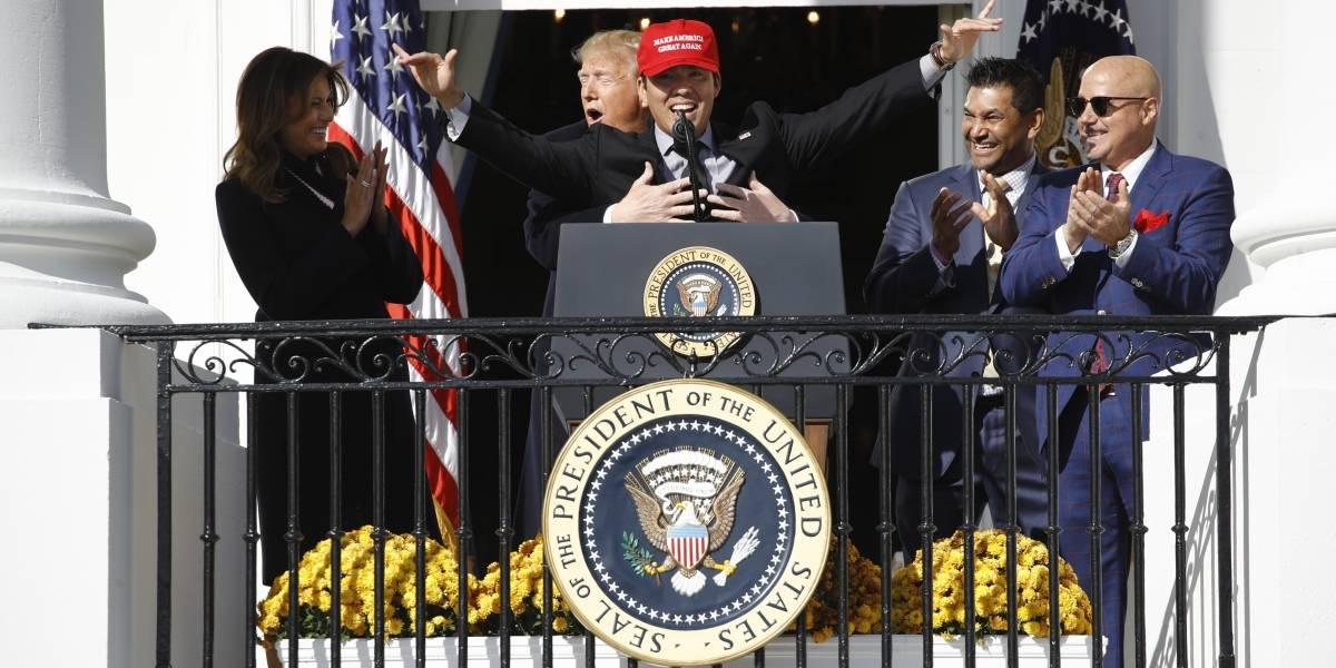Nacionales de Washington visitan a Donald Trump en Casa Blanca