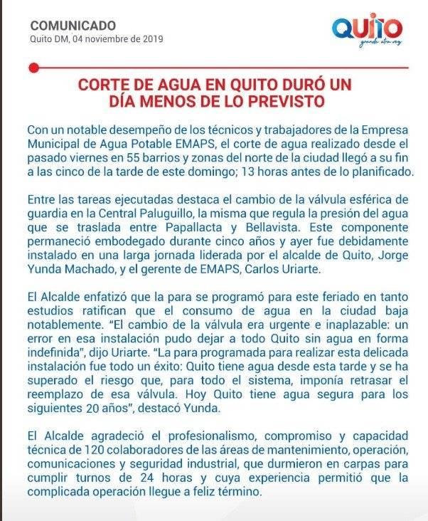 Comunicado del Municipio de Quito