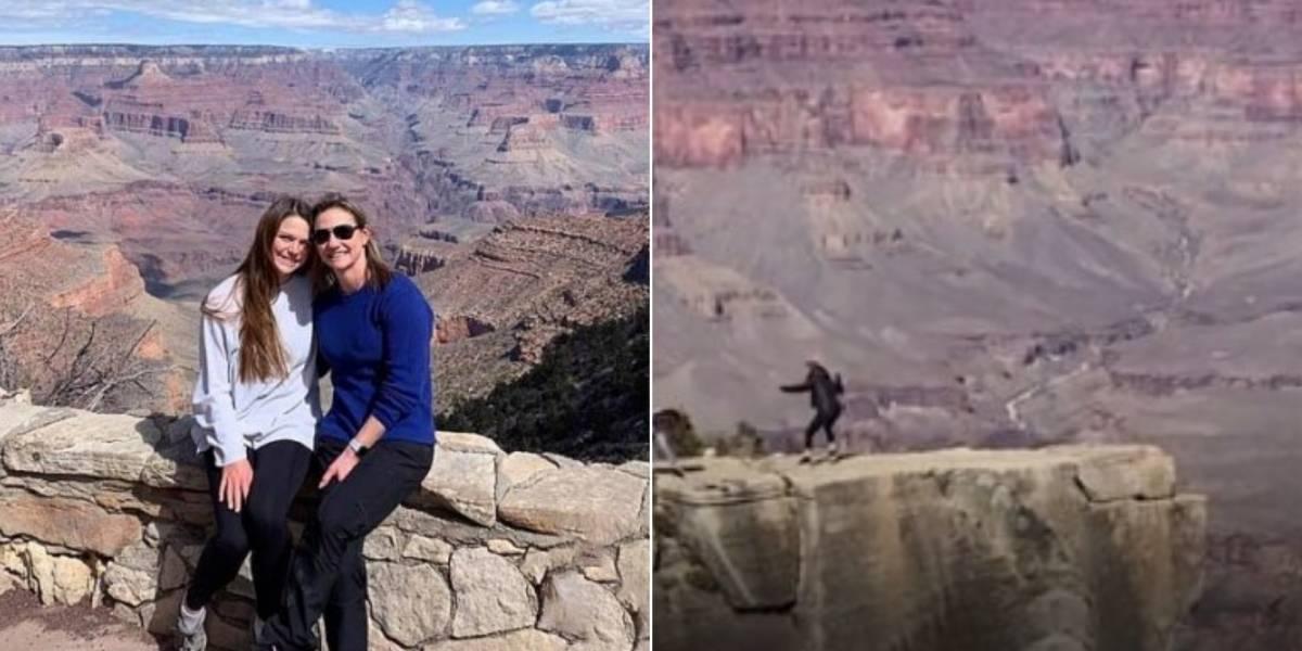 Vídeo captura momento em que jovem quase cai no Grand Canyon ao tirar foto da mãe